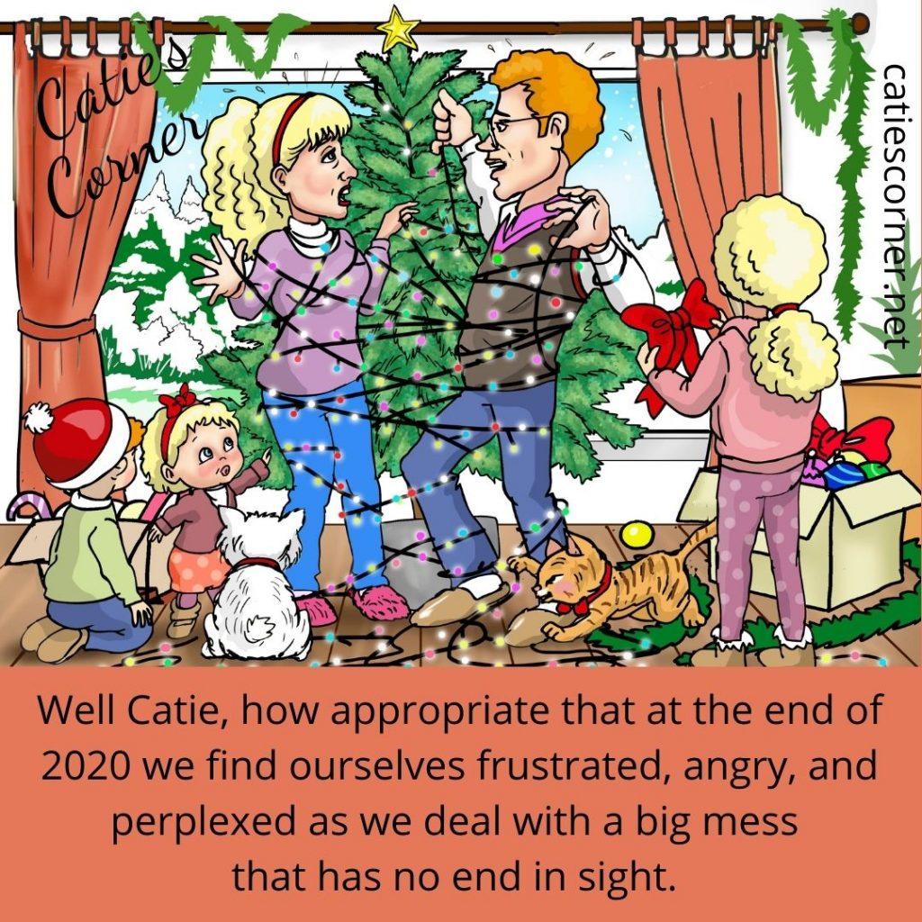 Catie and her husband are all tangled up with Christmas tree lights as they decoracte the tree